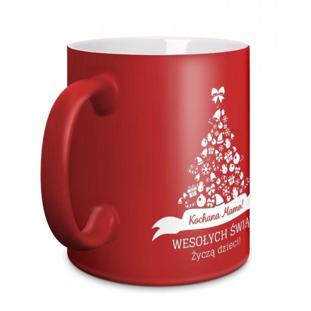 Kubek Ceramiczny Czerwony GRAWER Święta Choinka