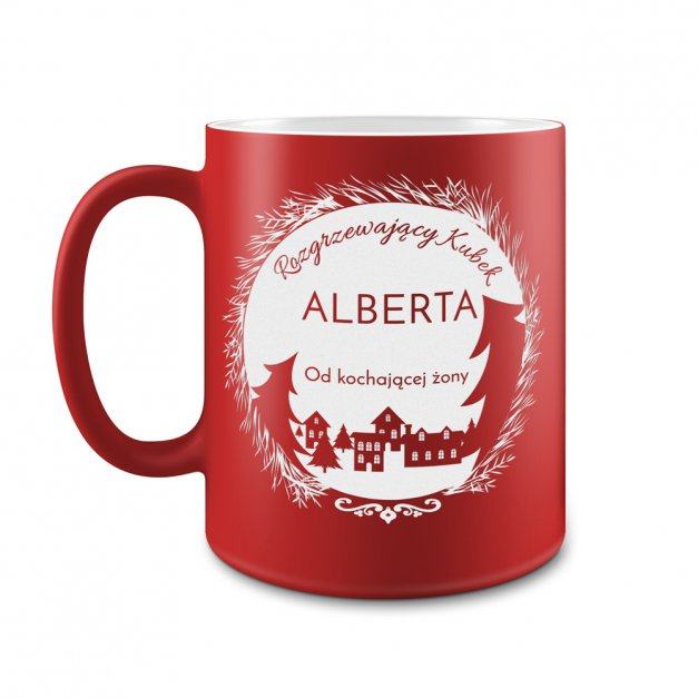 Kubek Ceramiczny Czerwony GRAWER Święta Rozgrzewający Kubek