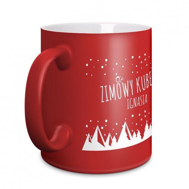 Kubek Ceramiczny Czerwony GRAWER Święta Zimowy Kubek