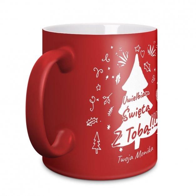 Kubek Ceramiczny Czerwony GRAWER Święta Z Choinką