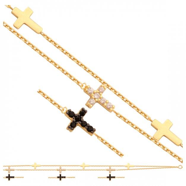 Złota bransoletka 585 łańcuszkowa krzyżyk PREZENT