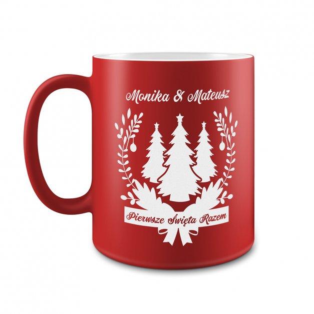 Kubek Ceramiczny Czerwony GRAWER Święta Choinki