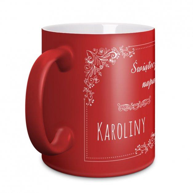Kubek Ceramiczny Czerwony GRAWER Święta Świąteczny Napar