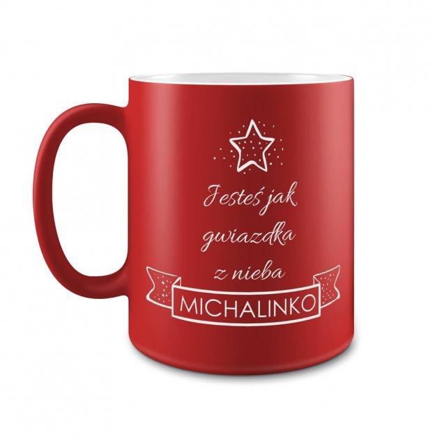Kubek Ceramiczny Czerwony GRAWER Święta Pierwsza Gwiazdka