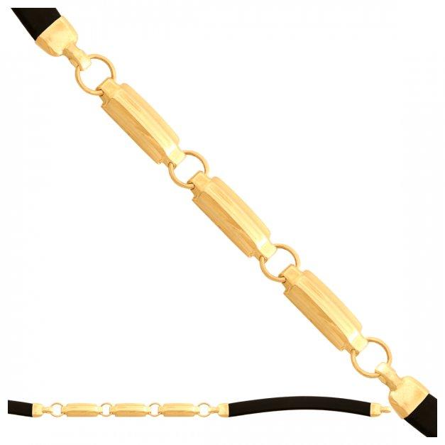 Złota bransoletka 585 unisex kauczuk PREZENT