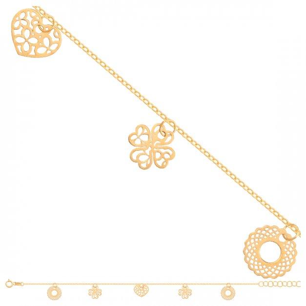 Złota bransoletka 585 łańcuszkowa serduszko