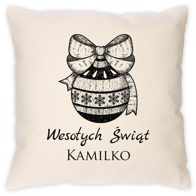 Poduszka personalizowana z nadrukiem Na Święta Bombka