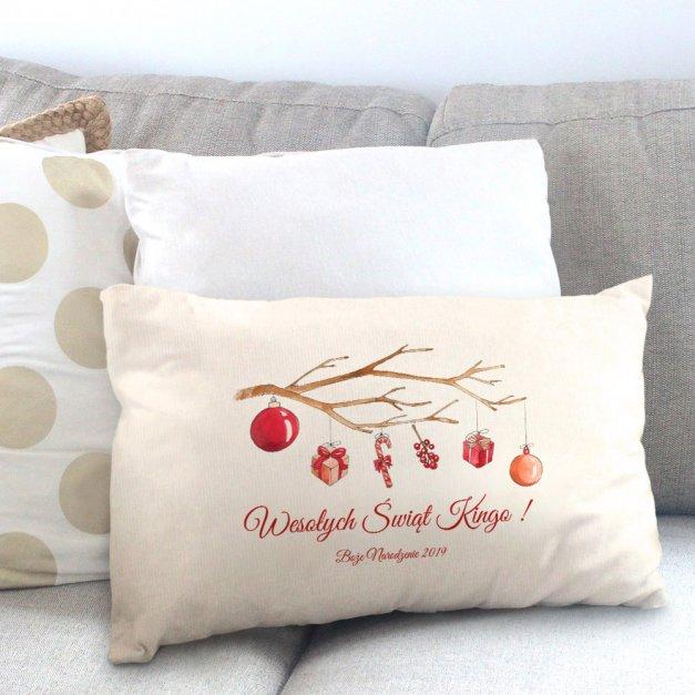 Poduszka personalizowana z nadrukiem Na Święta Świąteczna Gałązka