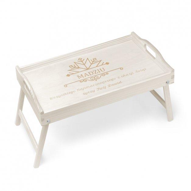 Personalizowany Stolik Biały Śniadaniowy Na Święta Śnieżka