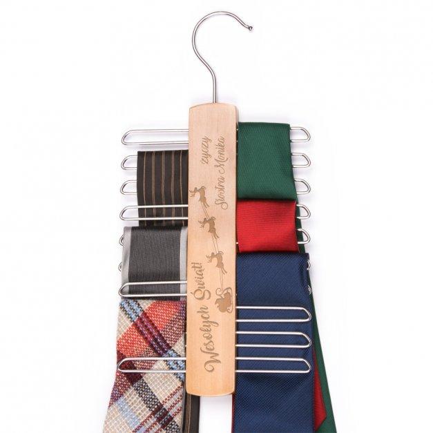 Personalizowany Wieszak na Krawaty Na Święta Sanie