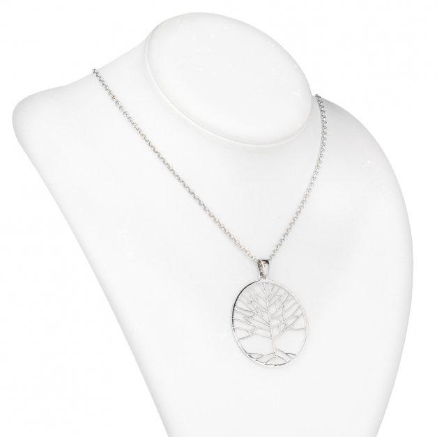 Srebrny Naszyjnik 925 Celebrytka Natural Drzewo Życia Grawer