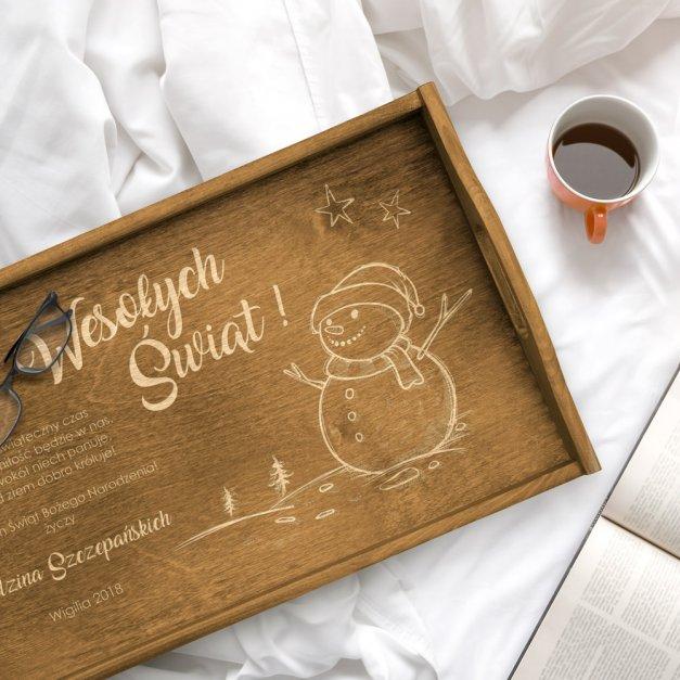 Personalizowany Stolik Śniadaniowy Jasny Brąz Święta