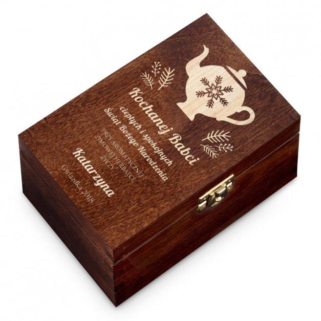 Herbata w Grawerowanej Skrzynce Na Święta Czajnik