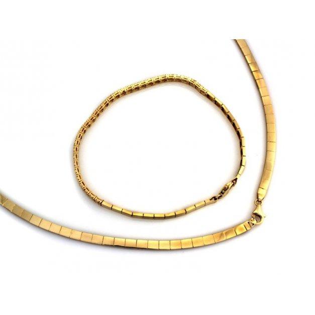 Złoty komplet 585 naszyjnik z bransoletka PREZENT