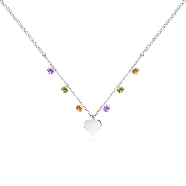 Srebrny Naszyjnik 925 Serce Kolorowe Kryształki Hippie Grawer