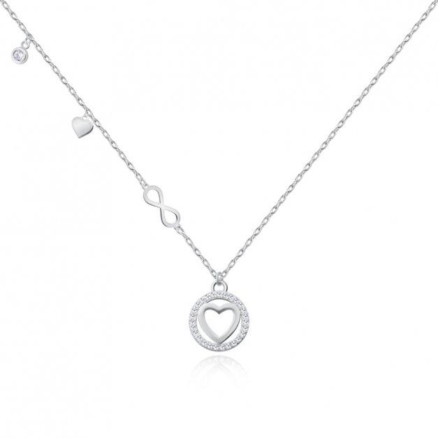 Srebrny Naszyjnik 925 Serce w Kółeczku Grawer
