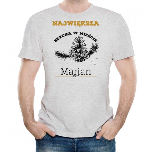 Koszulka Szara Męska z Twoim Nadrukiem SZYCHA