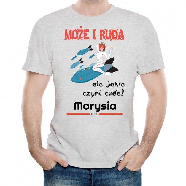 Koszulka Szara Męska z Twoim Nadrukiem RUDA