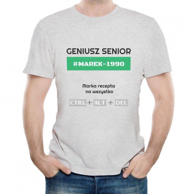 Koszulka Szara Męska z Twoim Nadrukiem GENIUSZ