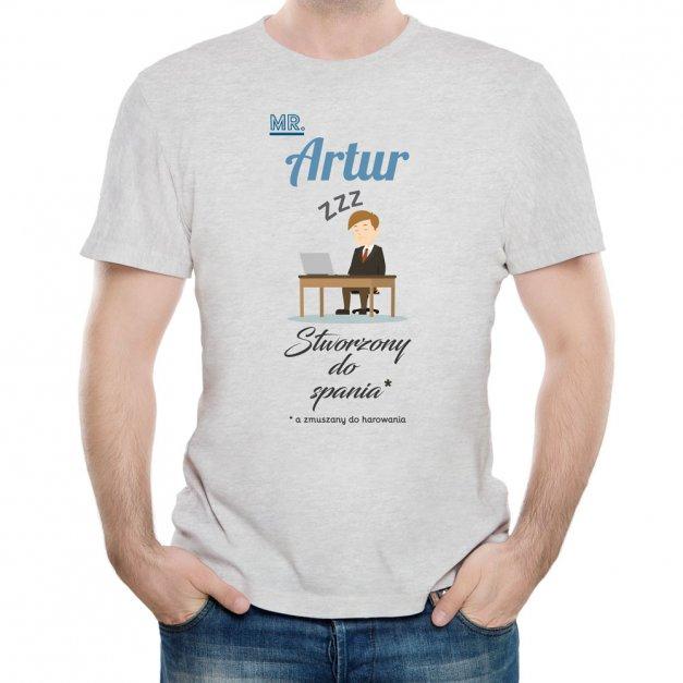 Koszulka Szara Męska z Twoim Nadrukiem STWORZONY DO SPANIA