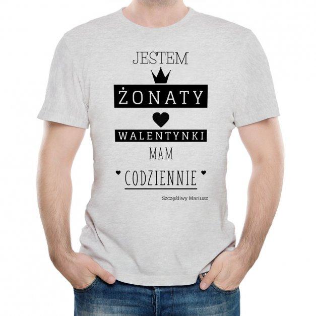 Koszulka Szara Męska z Twoim Nadrukiem ŻONATY
