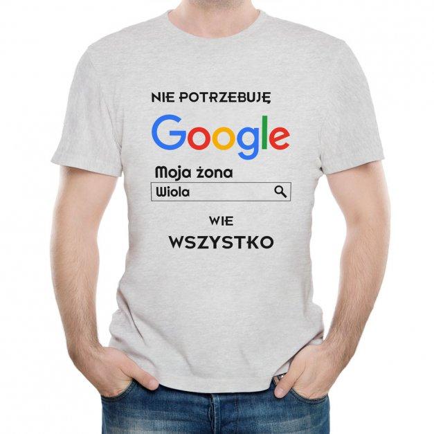 Koszulka Szara Męska z Twoim Nadrukiem ŻONA WIE WSZYSTKO