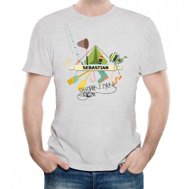 Koszulka Szara Męska z Twoim Nadrukiem CHŁOPAK Z ŻYŁKĄ