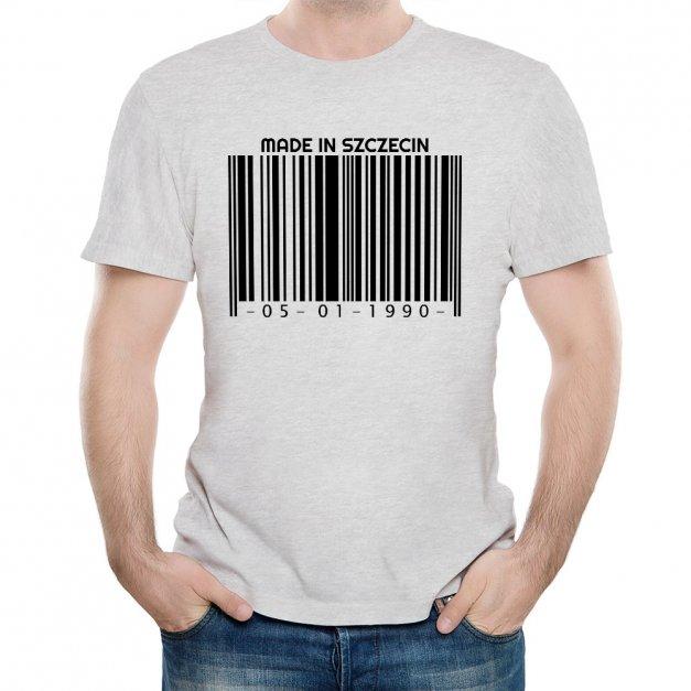 Koszulka Szara Męska z Twoim Nadrukiem KOD KRESKOWY