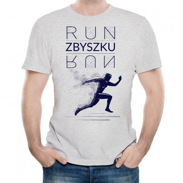 Koszulka Szara Męska z Twoim Nadrukiem BIEGNIJ