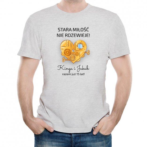 Koszulka Szara Męska z Twoim Nadrukiem ROCZNICA
