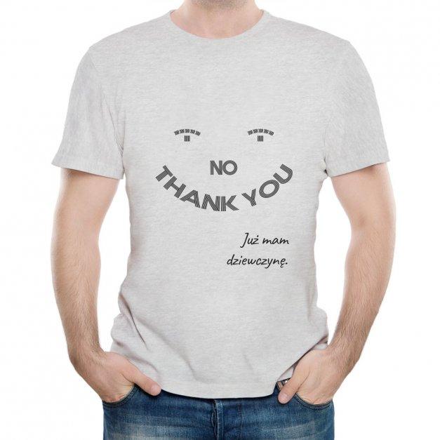 Koszulka Szara Męska z Twoim Nadrukiem NIE DZIĘKUJĘ
