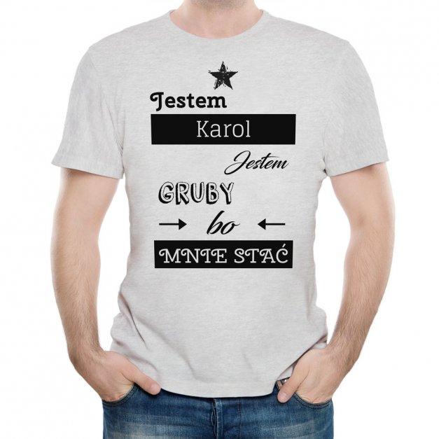 Koszulka Szara Męska z Twoim Nadrukiem JESTEM GRUBY