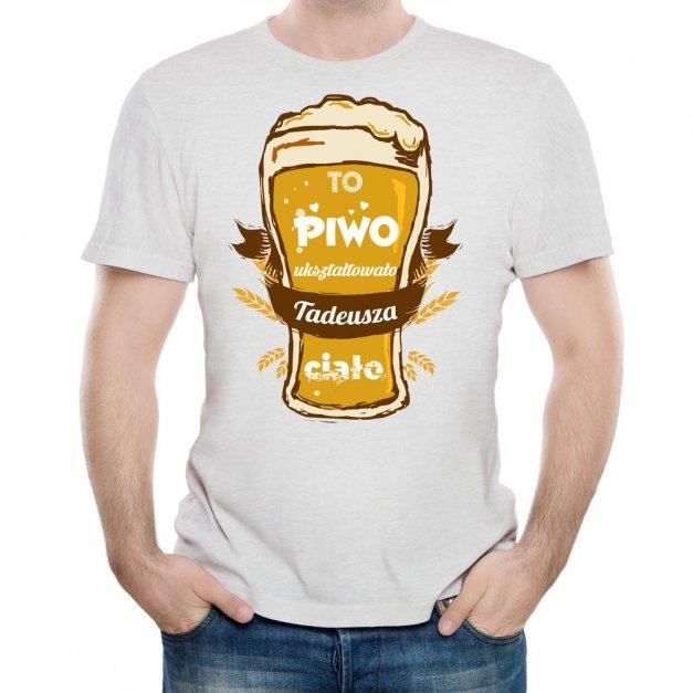 Koszulka Szara Męska z Twoim Nadrukiem PIWO