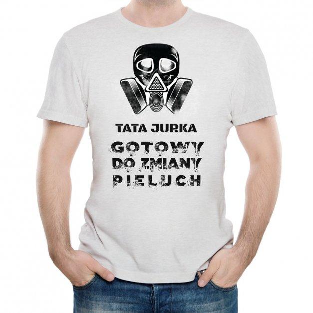Koszulka Szara Męska z Twoim Nadrukiem ZMIANA PIELUCHY