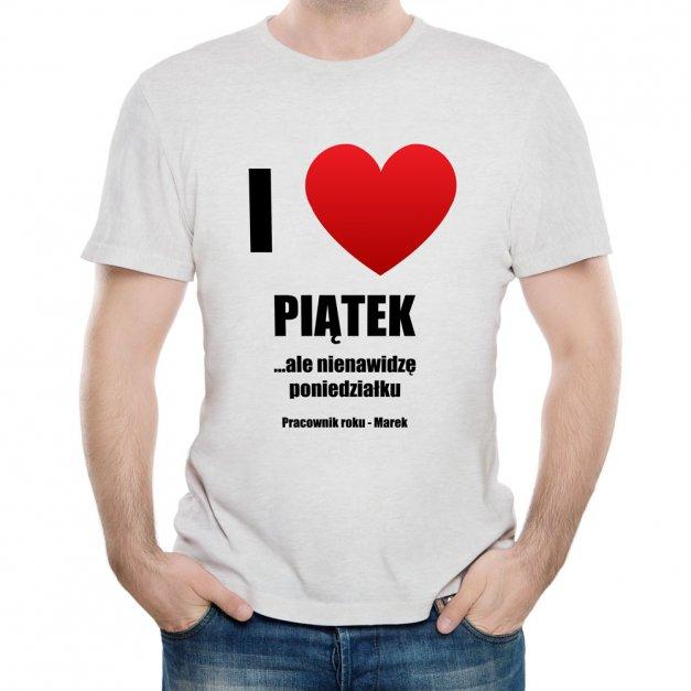Koszulka Szara Męska z Twoim Nadrukiem LOVE PIĄTEK