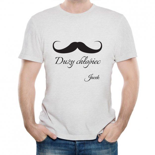 Koszulka Szara Męska z Twoim Nadrukiem DUŻY CHŁOPIEC