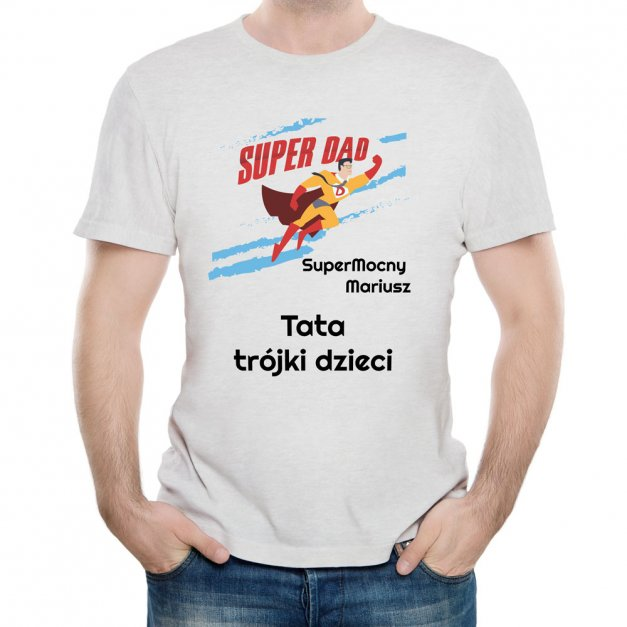 Koszulka Szara Męska z Twoim Nadrukiem SUPER DAD