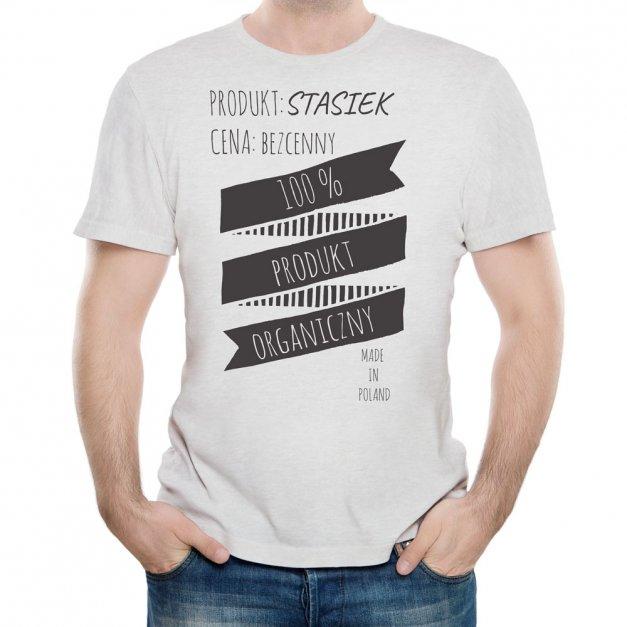 Koszulka Szara Męska z Twoim Nadrukiem PRODUKT ORGANICZNY