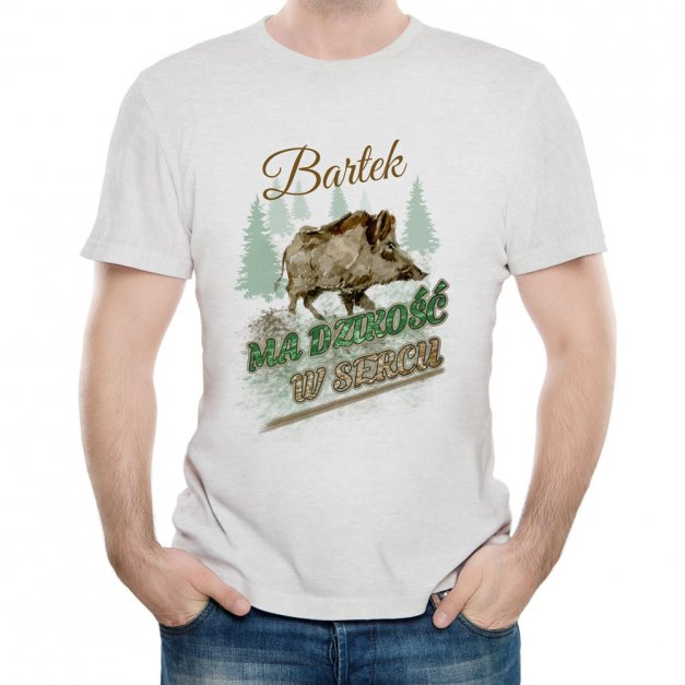 Koszulka Szara Męska z Twoim Nadrukiem DZIKOŚĆ W SERCU