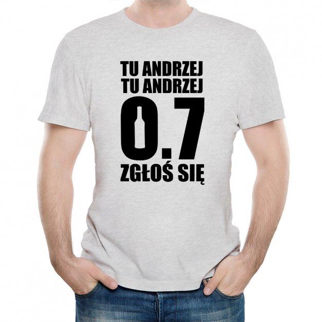 Koszulka Szara Męska z Twoim Nadrukiem ZGŁOŚ SIĘ