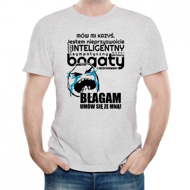 Koszulka SzaraMęska z Twoim Nadrukiem UMÓW SIĘ ZE MNĄ