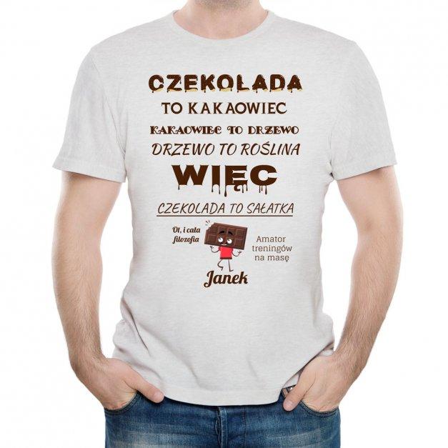 Koszulka Szara Męska z Twoim Nadrukiem FAN CZEKOLADY