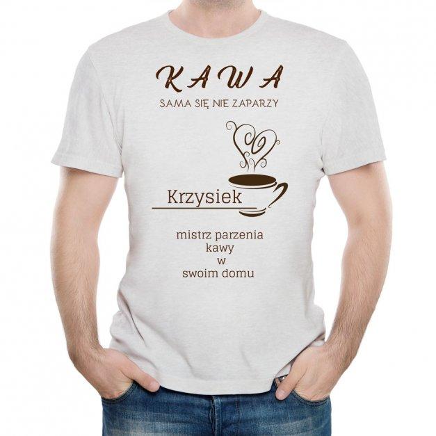 Koszulka Szara Męska z Twoim Nadrukiem FAN KAWY KAWOSZ