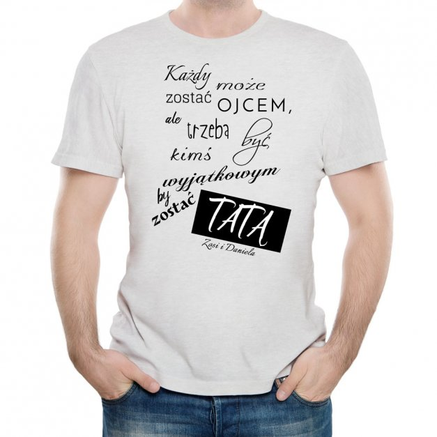 Koszulka Szara Męska z Twoim Nadrukiem PREZENT DLA TATY