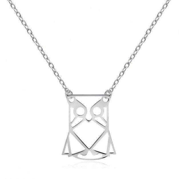 Srebrny Naszyjnik 925 Geometryczna Sowa Grawer