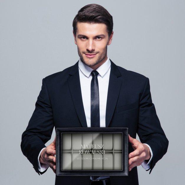 Szkatułka czarna na zegarki i biżuterię z grawerem dla niego