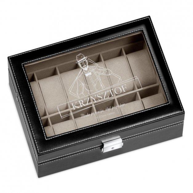 Szkatułka Kuferek na Zegarki GRAWER Styl dla Niego