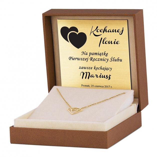 Srebrny Naszyjnik Złocony 925 Geometryczny Diament Grawer