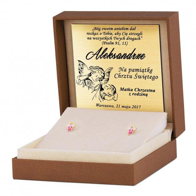Srebrne Kolczyki 925 Złocone Aniołki Grawer