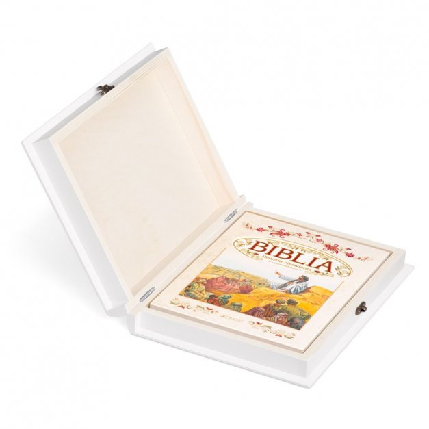 Biblia Dla Dzieci Z Drewnianym Etui Nadruk Medalion Chrzest